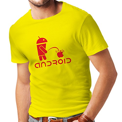 (T Shirts for Men The Funny Robot and The Apple - Geek Humorous Gifts (XX-Large Yellow Red))