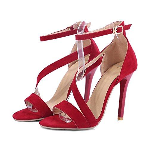 YE Women Block High PU Leather Pumps Open Toe Sandals Summer Shoes Red wOwVrTpGu
