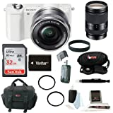 Sony Alpha a5000 ILCE-5000L/W ILCE5000LW 5000L 20.1MP Mirrorless Camera (White) + Sony 18-200mm F3.5-6.3 E-Mount Lens + Sony 32GB SDHC/SDXC Memory Card + Battery for Sony + Deluxe Accessory Kit