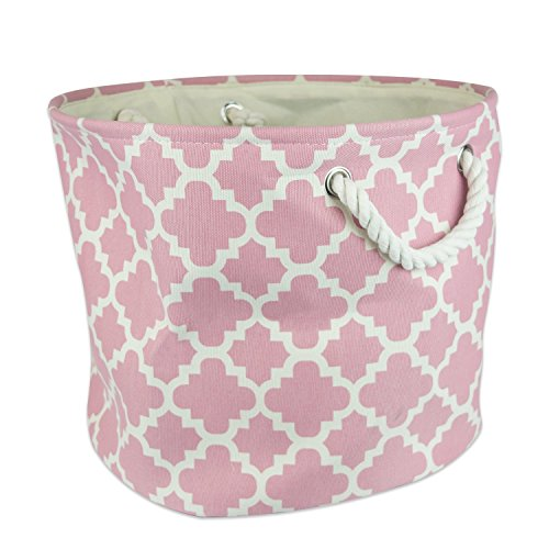 "DII Collapsible Polyester Storage Basket or Bin with Durable Cotton Handles, Home Organizer Solution for Office, Bedroom, Closet, Toys, & Laundry (Large Round – 15x16""), Rose Lattice"