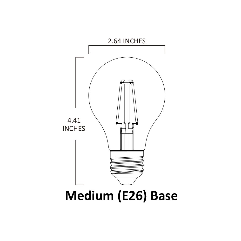 UL Certified 5000K LED2020 LED A21 Filament Light Bulb 120VAC 8W to Replace 75W Incandescent Bulbs 3PACK Day Light Dimmable Frost Bulb E26 Base
