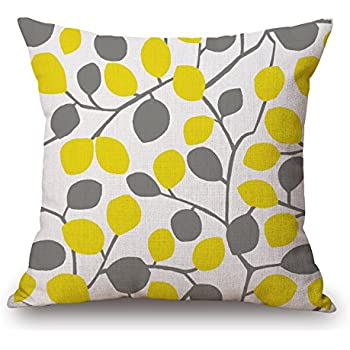 Yellow Leaves Gray Leaf Cotton Linen Square Decorative Retro Throw Pillow Case Vintage Cushion Cover 18 X18