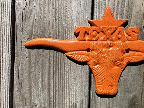 Texas Longhorns Cast Iron Wall Plaque - College Dorm Decorative Metal Art - University of Texas Gift for the - Art Metal Texas