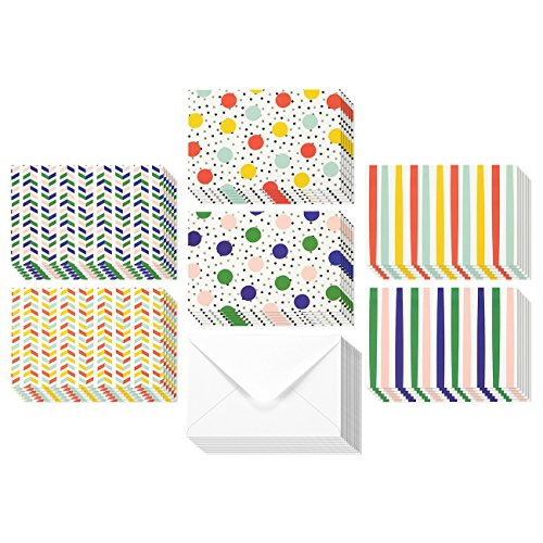 Blank Inside Cards (36 Pack All Occasion Assorted Blank Note Cards Greeting Cards Bulk Box Set - 6 Colorful Polka Dot and Stripe Designs - Blank on the Inside Notecards with Envelopes Included - 4 x 6 Inches)