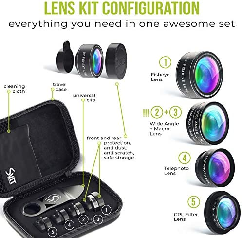 5 in 1 Phone Camera Lens Kit – Optical Glass Attachment Set – 2X Zoom Telephoto, 198 Fisheye, 0.63X Wide Angle, 15X Macro, CPL Filter with Universal Clip Adapter for Cell Phones and Tablets (Black) 51fkPS8s2QL