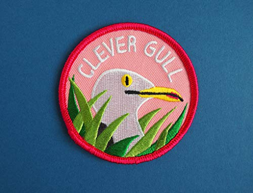 Iron On Patch - Clever Gull Patch, Clever Girl Iron On Patch, Jurassic Park Patch, Dinosaur Patch, Seagull Patch, Funny Pun Patch, Raptor Patch Embroidered