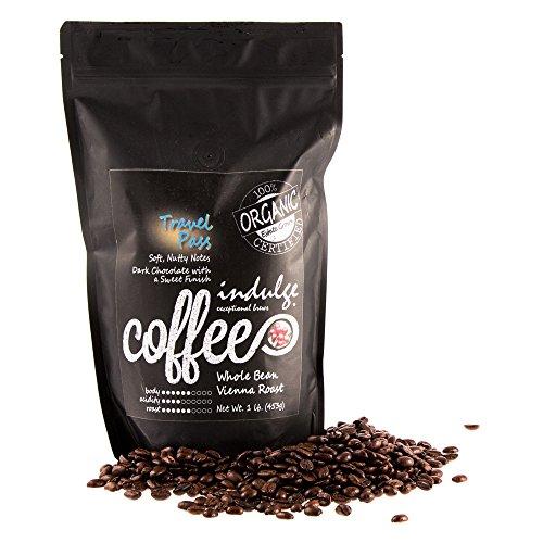 Indulge, Premium Organic Vienna Roast (Dark Roast) Coffee, 1 lb (16oz), MOSA Certified Organic (Whole Bean) -