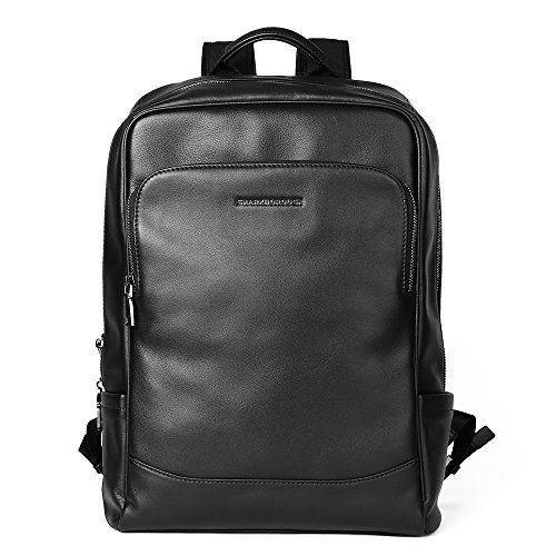 Sharkborough Men's Backpack Genuine Leather Business Travel Bag Extra Capacity by Sharkborough