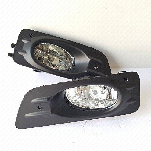 LEDIN 2006-2007 Honda Accord Sedan 4 Door Clear Lens Front Bumper Fog Driving Light Assembly w/Switch w/Bulbs