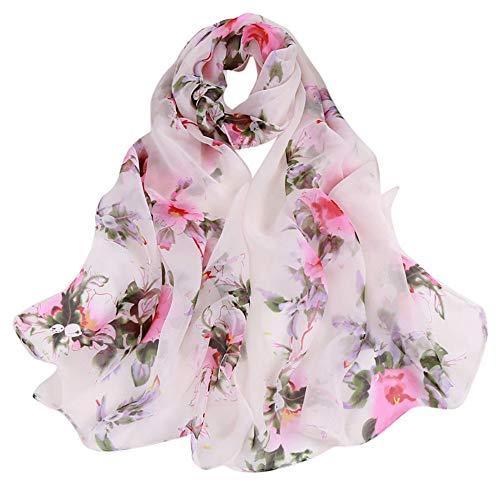 UONQD Fashion Women Peach Blossom Printing Long Soft Wrap Scarf Ladies Shawl Scarves(OneSize,A) -