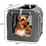 Pet Carrier for Medium Petite Dogs and Cats - Portable Soft Dog Carrier or Crate or Kennel for Indoor & Outdoor (Grey)