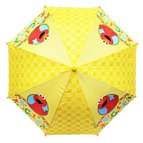 Sesame Street Elmo ABC 123 Yellow Kids Umbrella w/Molded Handle