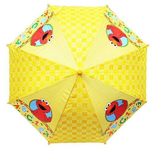 (Sesame Street Elmo ABC 123 Yellow Kids Umbrella w/Molded Handle)