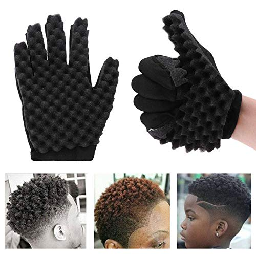 Magic Hair Curling Sponge Gloves for Barbers Twist Wave Curling Brush Styling Tool For Curly Hair Styling Care (Right hand)