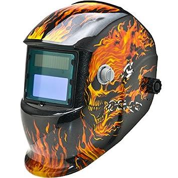 Casco de soldadura solar Biltek Professional Auto Darkening MIG TIG ARC Plasma Flames Skull: Amazon.es: Bricolaje y herramientas