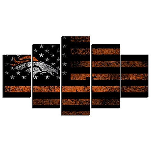E] Premium Quality Canvas Printed Wall Art Poster 5 Pieces/5 Pannel Wall Decor Rugby Sports Flag Broncos Painting, Home Decor Pictures - Stretched (Poster Canvas Painting)