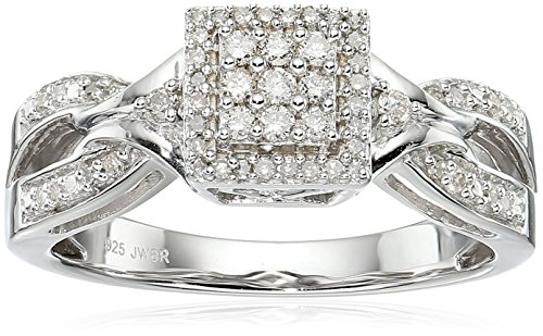 Sterling Silver Diamond Square Halo Engagement Ring (1/4 cttw), Size 7 by Amazon Collection