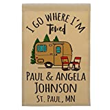 Cheap Happy Camper World I Go Where I'm Towed Personalized Campsite Sign, Garden Flag, Customize Your Way (Gold)