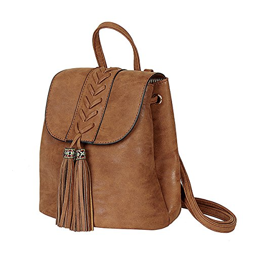 (Lady Backpack Casual Rucksack for Women Bohemia Small Bag Waterproof PU with Tassel Vintage Ethnic Style Backpack for Traveling, Shopping, Dating, Party, Holidays)