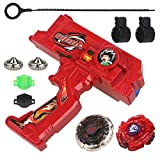 Bey Battling Blades Game Metal Fusion Set Burst Starter Kit Launcher Included, 10 Pieces, Red