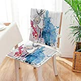 Mikihome Seat Set Cushion Sketchy shi Lady with Hat Looking Watercolor Splash Brushstroke Steam Artsy 2 Piece Classic Decorative Chair pad Mat:W17 x H17/Backrest:W17 x H36