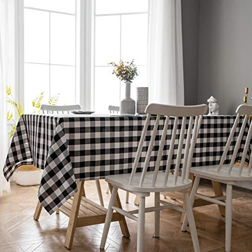 Aquazolax Black and White Tablecloth Farmhouse Chic Square Buffalo Plaid Table Covers for Family Dinner Gatherings, 60x84 inch, Black