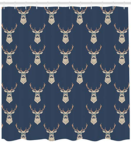 Ambesonne Deer Shower Curtain, Hipster Inspired Deer with Antlers Glasses Mustaches Funny Animal Pattern Vintage, Fabric Bathroom Decor Set with Hooks, 84 Inches Extra Long, Slate Blue - Hipster Curtain Shower