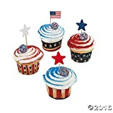 Fun Express Fourth of July Patriotic Red, White and Blue Baking Cups w/Star Picks - 100 PIeces