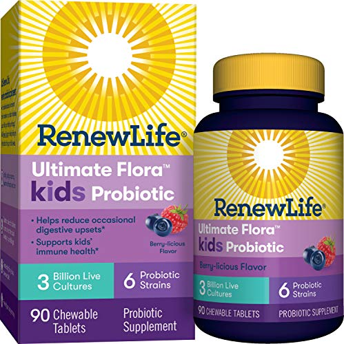 Renew Life Kids Probiotic – Ultimate Flora Kids Probiotic Supplement – Shelf Stable, Gluten, Dairy & Soy Free – 3 Billion CFU – Berry-licious, 90 Chewable Tablets (Packaging May Vary)