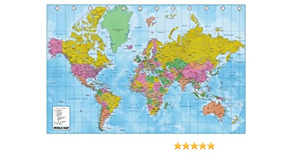 Amazon Com Huge Laminated Encapsulated World Map Political
