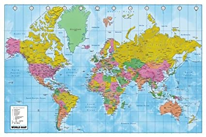Terrain World Map.Amazon Com Huge Laminated Encapsulated World Map Political