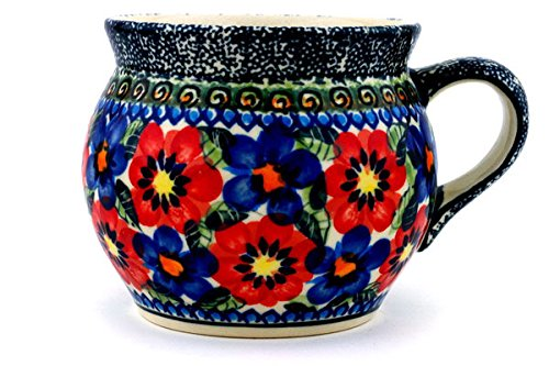 Polish Pottery Coffee Mug Bubble 16 oz Blue And Red Poppies (Red Pottery Mugs)