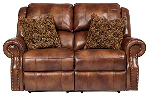 Ashley Furniture Signature Design – Walworth Recliner Loveseat with 2 Pillows – Pull Tab Manual Reclining – Auburn