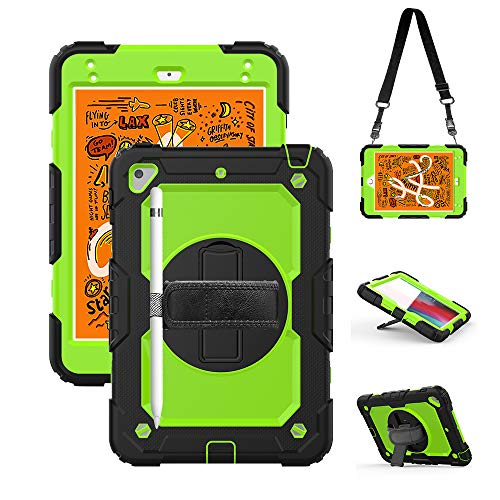 iPad Mini 4th/5th Generation Case with Screen Protector, Durable Case with Stand Strap Handle for Kids Boys,Durable Hard Full-Body Rugged Protective with Stylus Holder for ipad Mini 5 4 Cover Green (Best Stylus For Ipad Mini 4)