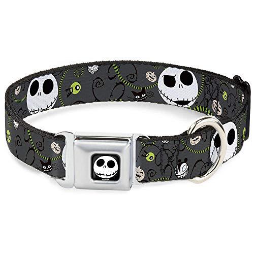 Buckle-Down Seatbelt Buckle Dog Collar - NBC Jack Expressions/Halloween Elements Gray - 1