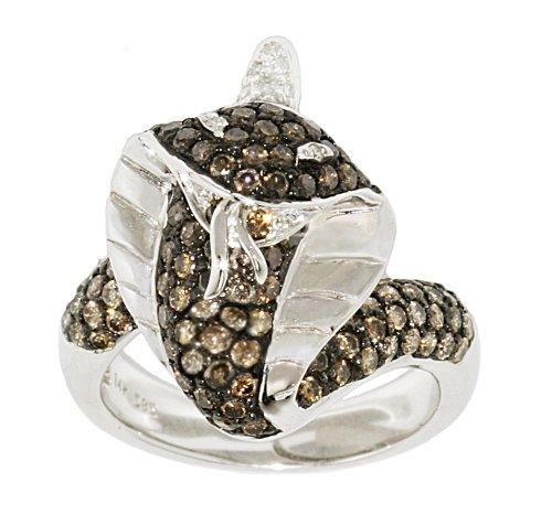 14k White Gold Brown White Diamond Cobra Ring, Size 6.5 (1.62 cttw)