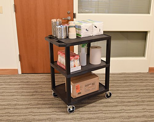 Luxor WT34S 3 Shelves Tuffy Utility Cart - Black