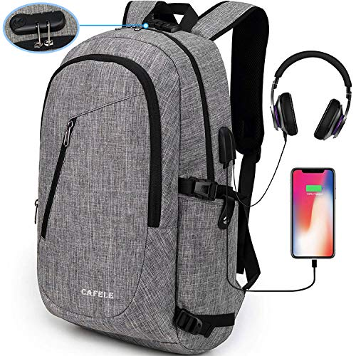 (Cafele Laptop Backpack,Travel Computer Bag for Women & Men,Anti Theft Water Resistant College School Bookbag,Slim Business Backpack w/USB Charging Port Fits up to15.6 Inch Laptop Notebook,Grey)
