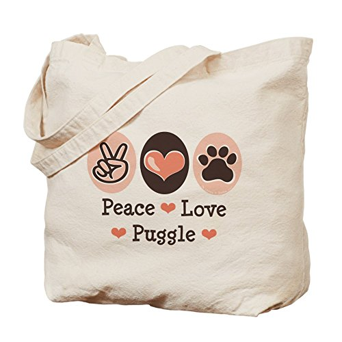 CafePress Unique Design Peace Love Puggle Tote Bag - Standard Multi-color by CafePress