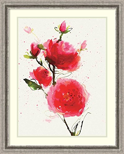 Framed Art Print 'Wild Ruby' by Summer Thornton (Vase Ruby Rectangular)
