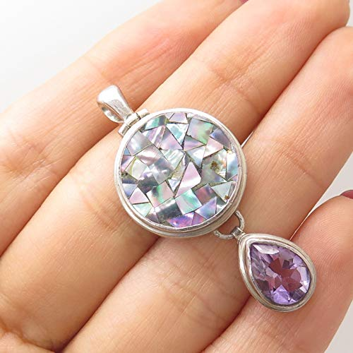 Signed 925 Sterling Silver Real Abalone Shell Pear Cut Amethyst Gemstone Pendant Jewelry Making Supply by Wholesale Charms