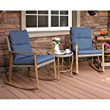 COSIEST 3-Piece Outdoor Patio Furniture Faux Woodgrain Rocking Chairs Seat 18' H w Cobalt Blue Cushions and Round Glass-Top Table Bistro Set for Garden, Pool, Backyard