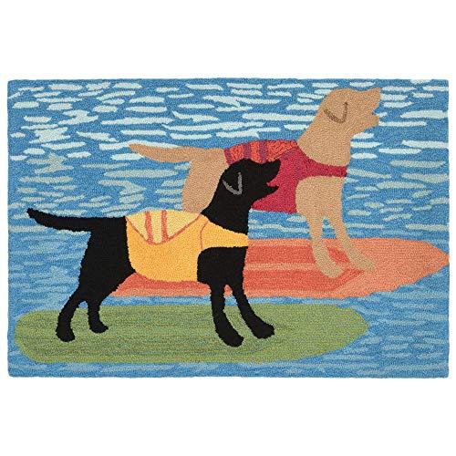 Dog Surfboard - Liora Manne FTP23188104 1881/04 Front Porch Coastal Summer Surfboard Dogs Ocean Indoor/Outdoor Rug, 2' X 3', Blue