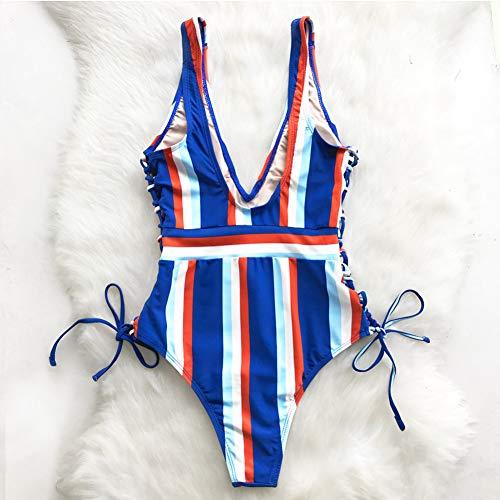neck Slim Shengyunpio Girl Beach Women Bathing Striped One Bodysuit Swimsuit V Swimwear piece Lace Xl Up New Suit KFTlc1J