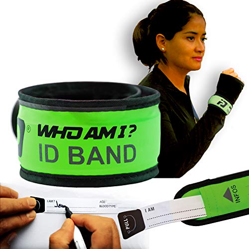 Who Am I - LED ID BAND ; ID Bracelet; Wrist ID; Blink or Glow; Sport ID, Safety and Visibility bracelet, Night Running Gear, Runners ID, Cycling ID Bracelet, LED Fits All ID, YELLOW ()