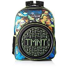 "Backpack - TMNT - Hard Shell Black Logo 16"" School Bag New 124735"
