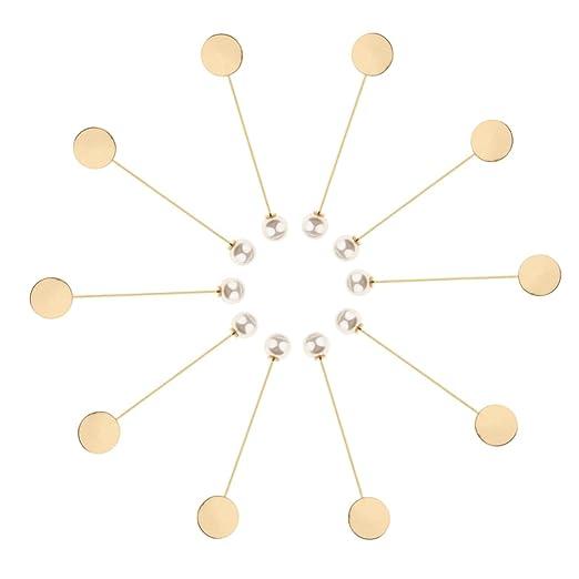 MagiDeal 10x Pin Broche Base Pegamento con Perla Accesorios ...
