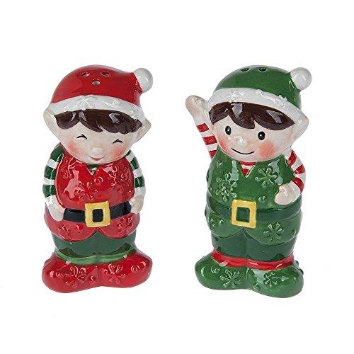Christmas Elves Ceramic Salt & Pepper Shaker Set -