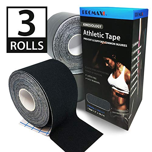 Promax Kinesiology Athletic Tape, Black Kinesiology Athletic Tape, Elastic for Supporting for Athletic Sports, Latex-Free, 3-Uncut Rolls (2