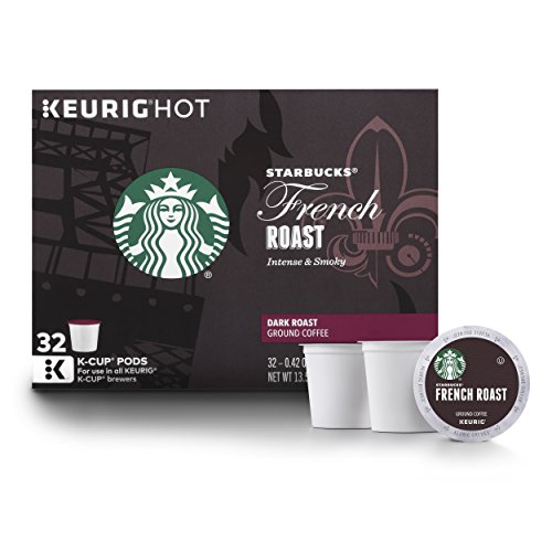 (Starbucks French Roast Dark Roast Single Cup Coffee for Keurig Brewers, 1 box of 32 (32 total K-Cup pods))